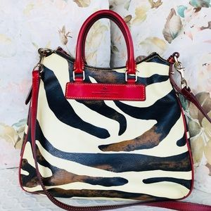 D&B Leather Zebra Collection Tear Drop Hobo